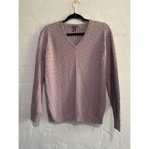 Ann Taylor Cable Knit Purple V Neck Sweater Large
